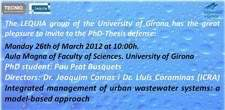 The newsletter of the IWA specialist group on Watershed and River Basin Management publishes a report on a pHD thesis presented at LEQUIA